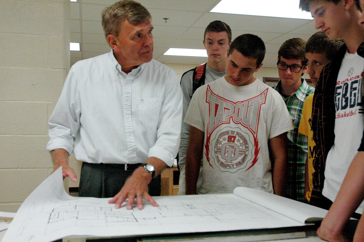 Roncalli High School Teacher James Ratliff Shows A Blueprint To Students  During One Of His Architecture