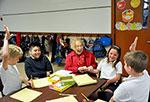 Rachel Joyce and students