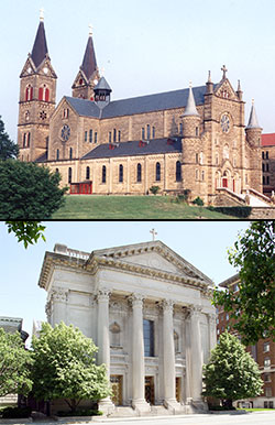 Top: the Archabbey Church of Our Lady of Einsiedeln, 200 Hill Drive, in St. Meinrad, has been designated a pilgrimage site to receive a plenary indulgence during the Holy Year of Mercy. Bottom: Archbishop Joseph W. Tobin has also designated SS. Peter and Paul Cathedral, 1347 N. Meridian St., in Indianapolis, as a pilgrimage site to receive a plenary indulgence during the Holy Year of Mercy. (Criterion file photos)