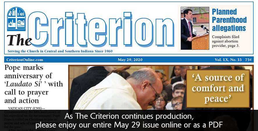 Get the entire May 29 edition of The Criterion here